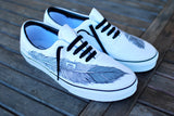 Hand Painted Native Eagle Feather on White Vans Era shoes