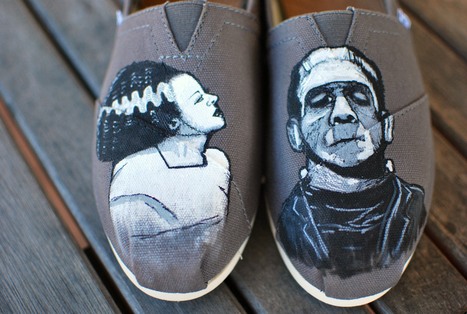 ... Frankenstin and Bride of Frankenstein painted on Ash Grey Classic Toms  shoes ...