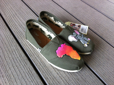 Hand Painted Toms Classics featuring Africa and an African Elephant