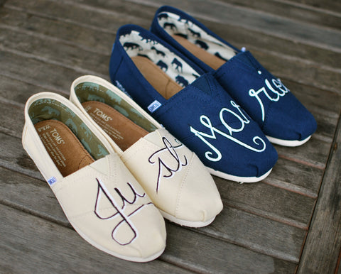 Custom Hand Painted Just Married Natural and Navy Canvas Toms for Bride and Groom. Customizable - Made-to-order