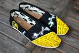 Custom Hand Painted Hufflepuff Hogwarts Harry Potter Black Canvas Classic Toms