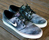 Custom Hand Painted Twilight Zone Black and White Galaxy Nike Stefan Janoski Skate Shoes - B Street Shoes