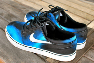 Hand painted Blue Smoke Nike Stefan Janoski Skate Shoes