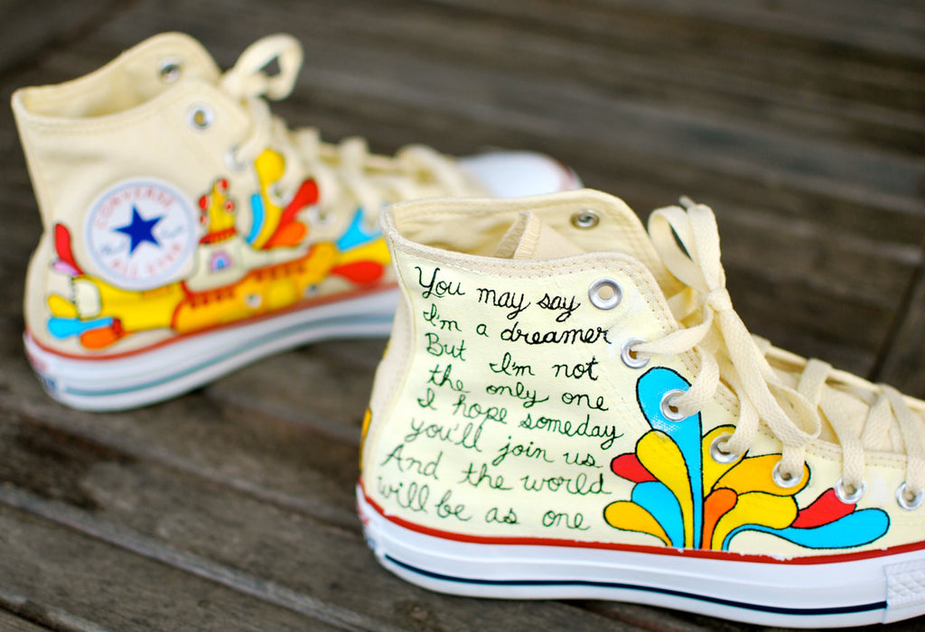 converse yellow. hand painted yellow submarine beatles hi top white converse chuck taylor all star sneakers