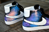 Custom Hand-Painted Nike Blazer Mid Galaxy Sneakers - B Street Shoes