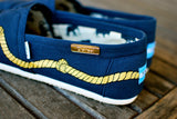 Hand Painted Gold Rope on Navy Classic Toms