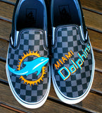 Hand Painted Miami Dolphins Black Pewter Checkerboard Slip-On Vans Classics
