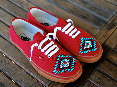 Custom Hand Painted Vans -- Native American tribal theme on Chili Pepper Gumsole Sneakers -- Customizable - B Street Shoes