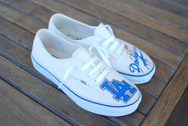 Custom Hand Painted Los Angeles Dodgers Vans Authentic Sneakers