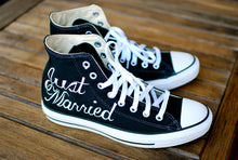 Hand Painted Just Married Converse - Black Canvas Chucks