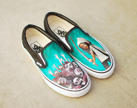 The Walking Dead Vans, Unique Art Shoes, Zombie Vans