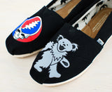 Black Canvas Toms - Grateful Dead theme - Hand Painted