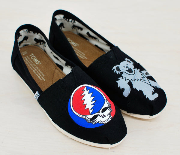Black Canvas Toms - Grateful Dead theme - Hand Painted - B Street Shoes