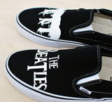 The Beatles Vans - Hand Painted on Black Canvas Slip Ons