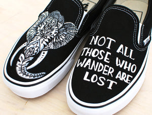 Custom Hand Painted Elephant Vans - Not All Those Who Wander Are Lost
