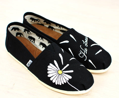 Custom Hand Painted Daisy Toms - He Loves Me... - B Street Shoes