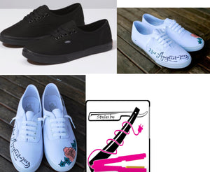 US Women's size 8.5 Black/Black Vans Authentic Lo Pro - Styles By Z - Custom Order- Payment 1 of 2