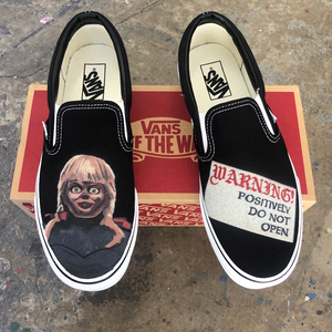 Scary Annabelle on Black Slip-On Vans