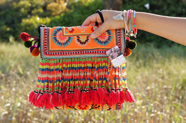 Bohemian - red tassel hmong - shoulder bag