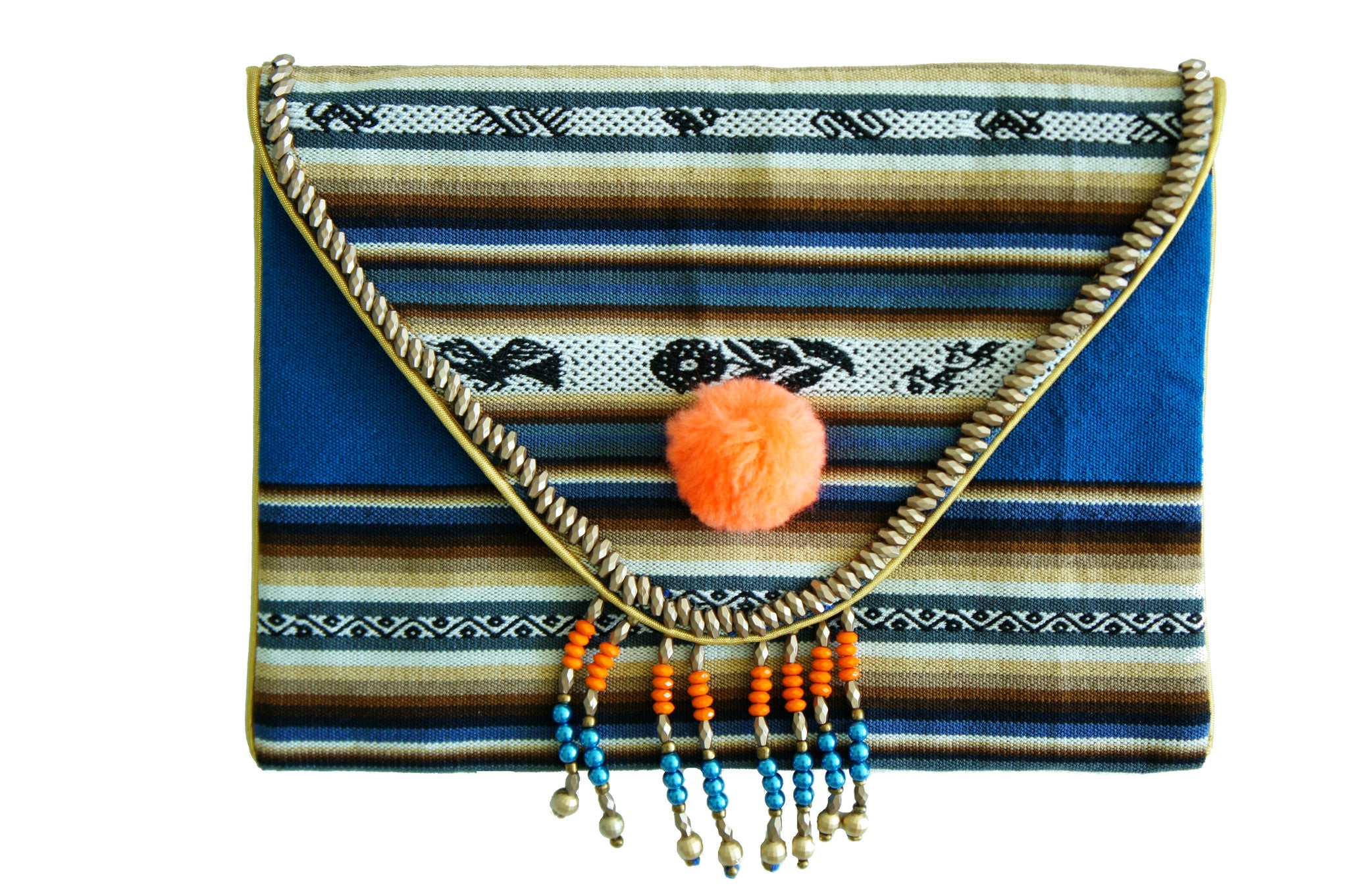 Bolivian Orange Pom Pom Bag