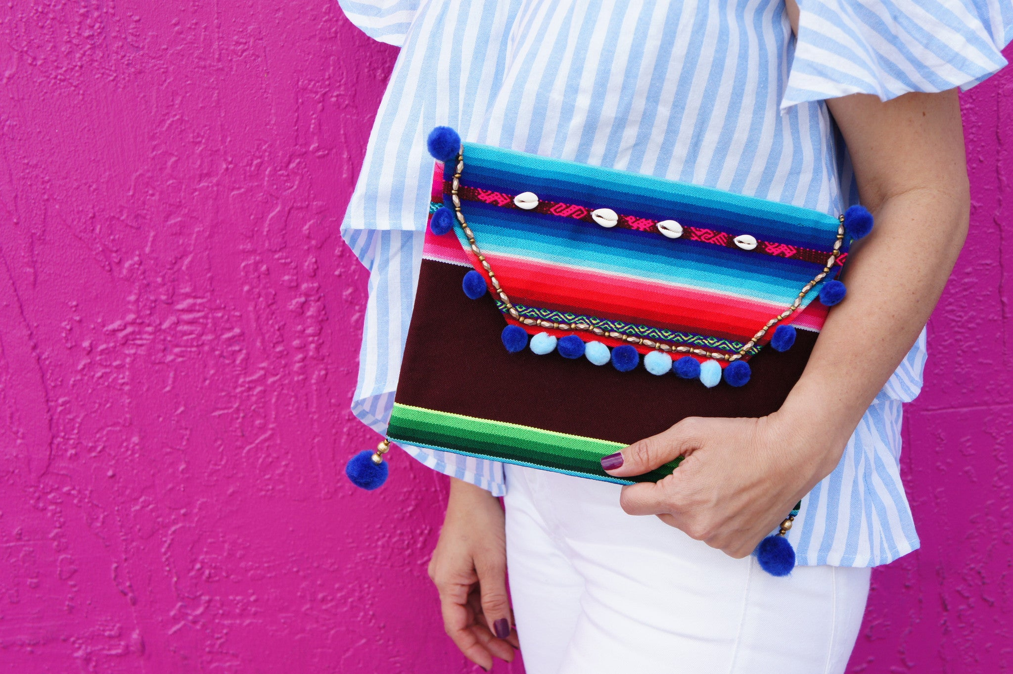 striped bohemian bag