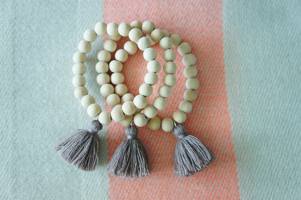 Ivory Wood Beads - Gray Tassel