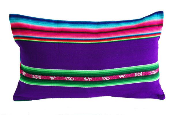 Purple aguayo Bolivian pillow case