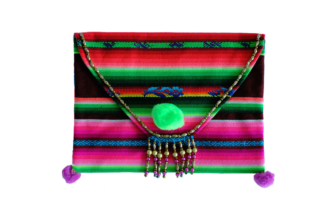 Aguayo Green Pom Pom Striped Bag