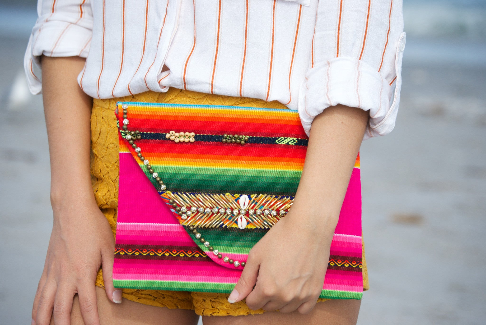 Aguayo Bolivian Embroidery clutch