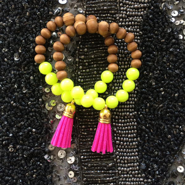 Harper Neon yellow and wood beaded tassel bracelet