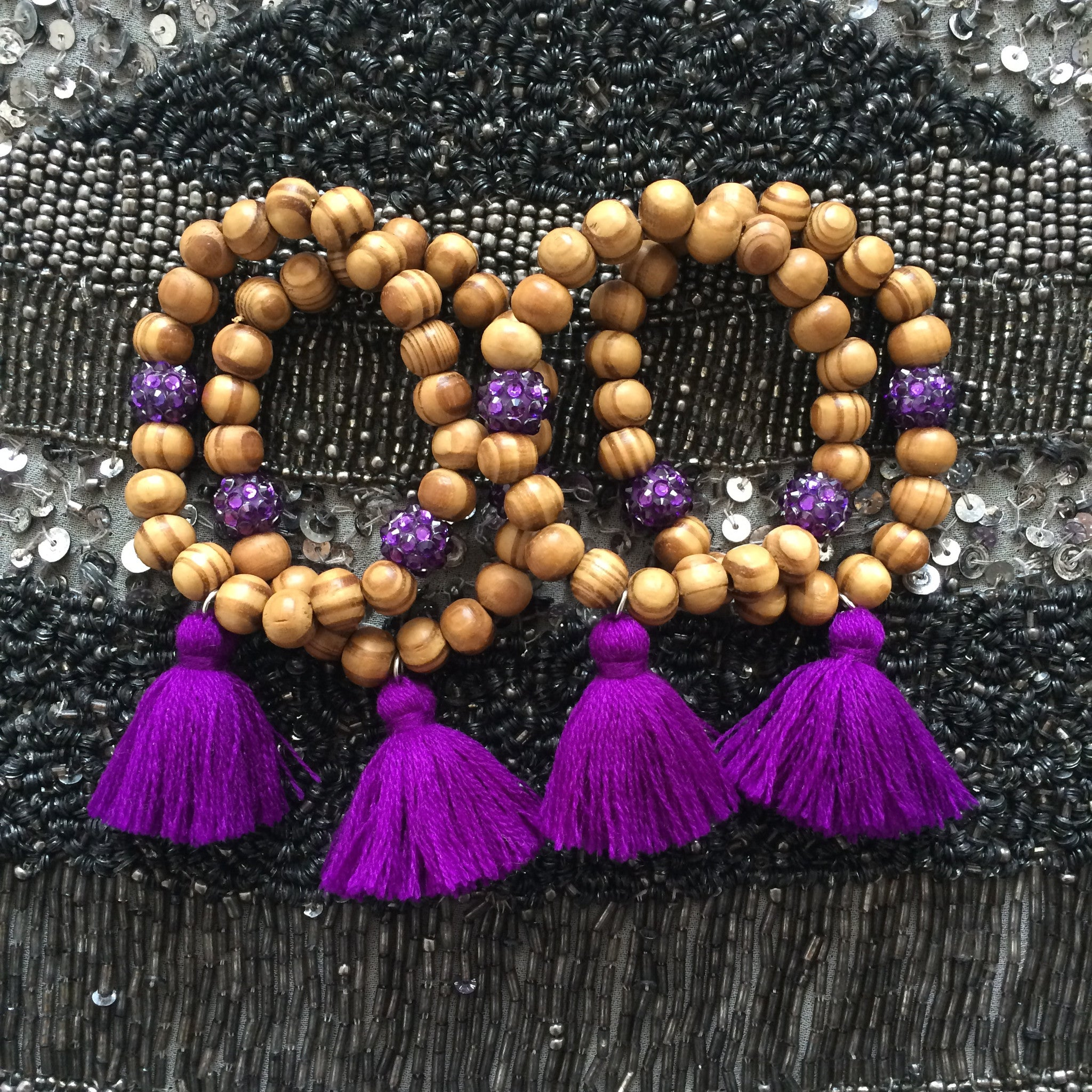 Purple tassel - beaded bracelet