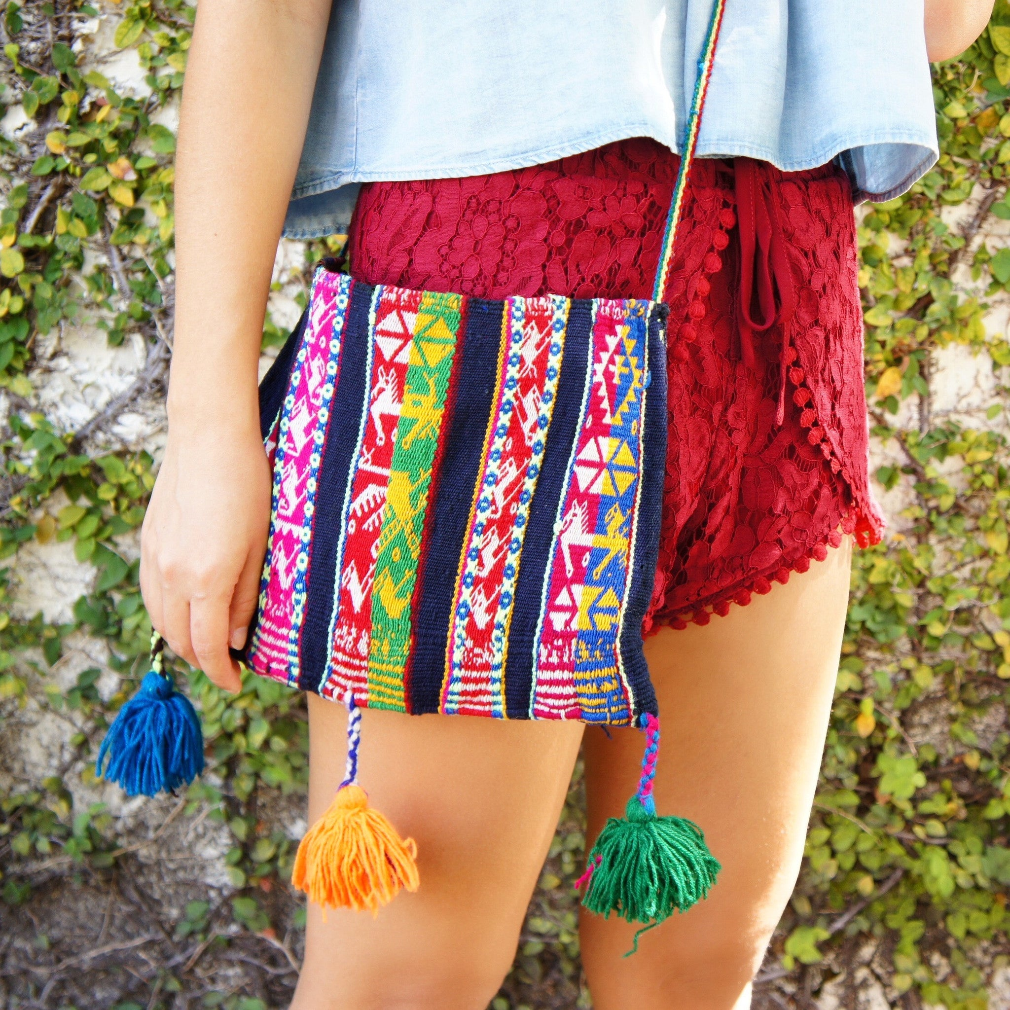 Bolivian Tassel Medium Shoulder Bag