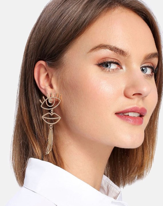 Eye Lips Hand Earrings