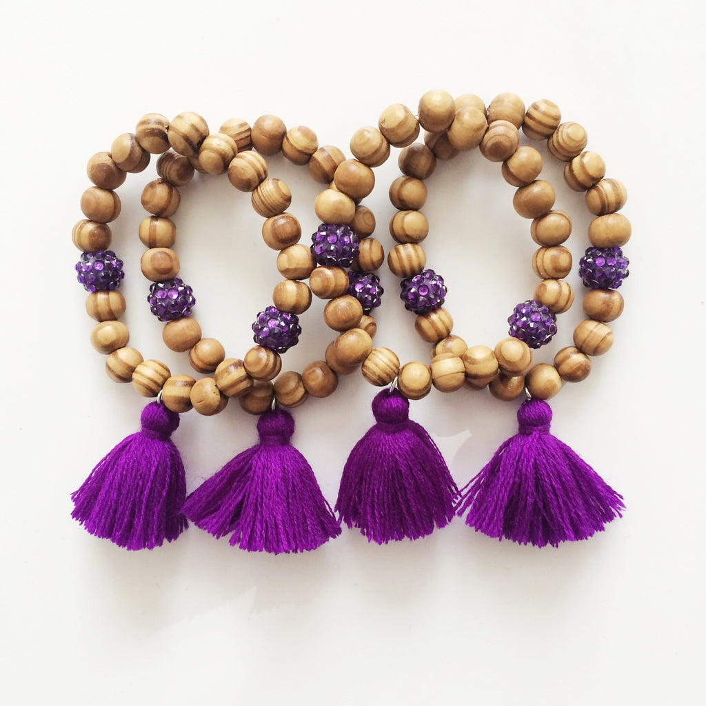 Purple tassel bracelet - wood beaded bracelet