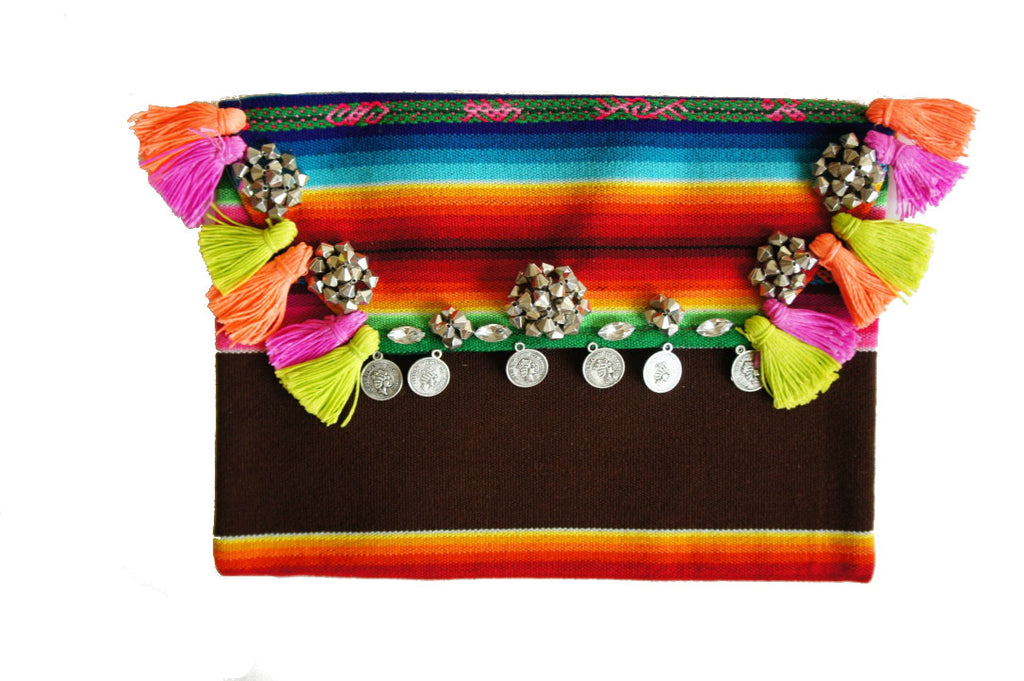 Bolivian Tassel Clutch - Boho Bag - One of a kind