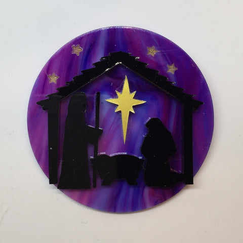 Nativity disc brooch