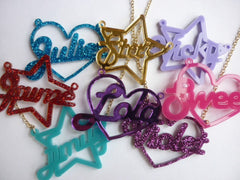 Shape necklace, heart or star (special colour)