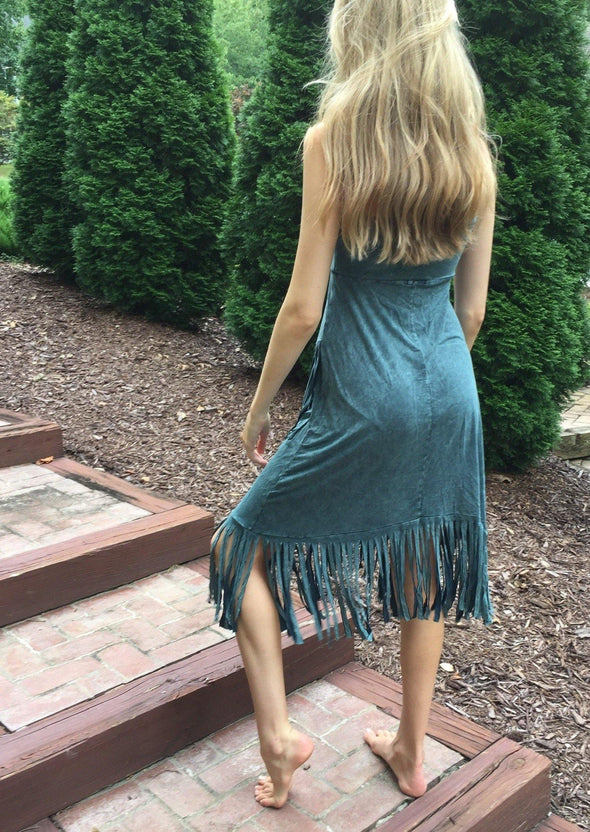 Sage BoHo Fringe Skirt/Dress Soft Stretch -  T-Party - beach, Beach Wear, Bohemian, BoHo, Fringe, Made in America, made in usa, Skirt, soft, Spring, Summer, tie dye, Women, Women's Clothing - Classy Cozy Cool