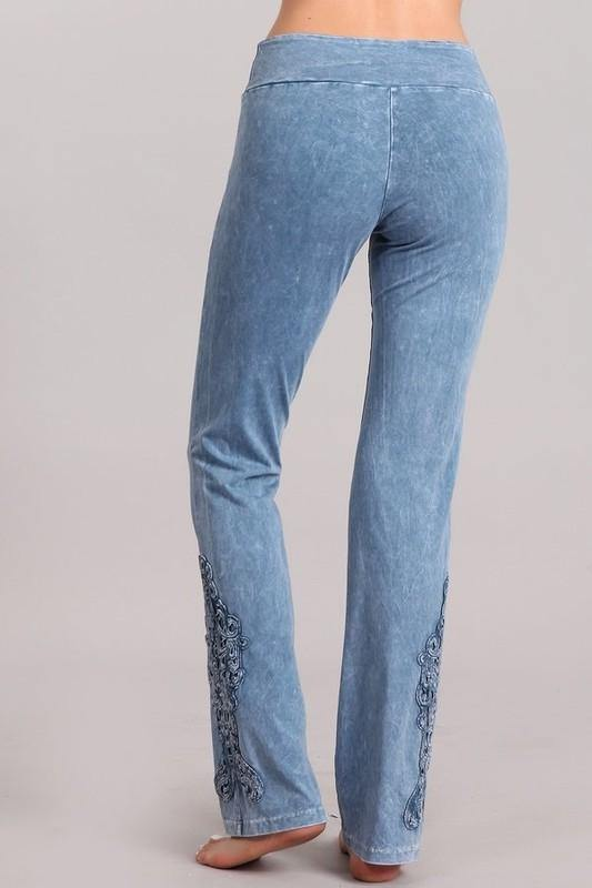 Mineral washed, Bootcut, High Waist & Crochet Detail -  Chatoyant - bootcut, Bottoms, Clothes, Crochet, Featured, High Rise, High Waist, Jeans, jeggings, loungewear, Mineral Washed, Pants, Skinny Jeans, Stone Washed, Women - Classy Cozy Cool