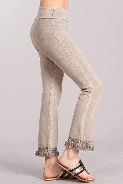 Mineral Washed Ankle Fringe Cropped Pants - Classy Cozy Cool - Pants -  Chatoyant - Ankle Cropped, beach, BoHo, Featured, Fringe, High Waist, made in usa, Mineral Washed, Spring, Summer, Tan