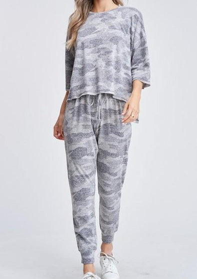 Camo Loungewear Set -  Phil Love - Camo, Camoflage, Gray, jogger, Lounge, Loungewear, made in usa, soft, Spring, Summer - Classy Cozy Cool