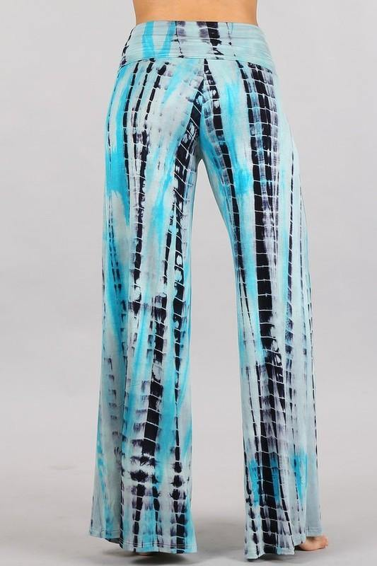 Tie dye Summer Lounge Pants -  Chatoyant - beach, Beach Wear, Bottoms, Clothes, Featured, fold over waist, Lounge, Loungewear, made in usa, Palazzo Pants, Pants, soft, Spring, Summer, tie dye, Wide Leg, Women - Classy Cozy Cool