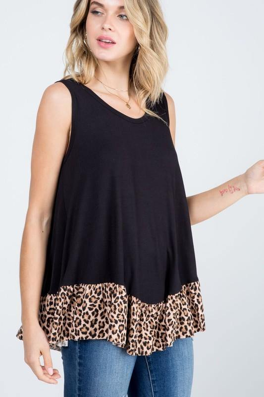 ANIMAL PRINT RUFFLE SLEEVELESS TOP -  P & Rose - Animal Print, Baby Doll, babydoll, Black, Blouse, Clothes, Featured, made in usa, Plus, Ruffle Hem, Shirt, Sleeveless, Spring, Summer, Tank top, Tunic, vacation, Women, Women's Clothing - Classy Cozy Cool