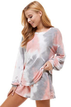 Load image into Gallery viewer, Pink and Gray Tie Dye Long Sleeve Lounge Top