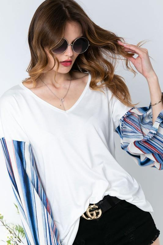 V-Neck Flared Striped Bell Sleeve Top -  Adora - bell sleeve, Blouse, Blue, Clothes, Featured, Long Sleeve, made in usa, Navy, Shirt, soft, Spring, Summer, V-Neck, vacation, Wardrobe Essentials, White, Women, Women's Clothing - Classy Cozy Cool