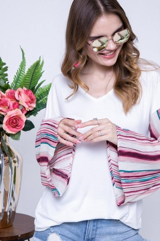 V-Neck Flared Magenta Striped Bell Sleeve Top -  Adora - bell sleeve, Blouse, Clothes, Featured, Long Sleeve, made in usa, pink, Shirt, soft, Spring, Summer, V-Neck, vacation, Wardrobe Essentials, White, Women, Women's Clothing - Classy Cozy Cool