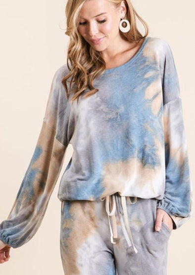Tie Dye Oversized Lounge Top with Drawstring at Waist -  BiBi - Blouse, Clothes, Lounge, Loungewear, made in usa, matching sets, Shirt, Spring, Sweatshirt, tie dye, Wardrobe Essentials, Women, Women's Clothing - Classy Cozy Cool