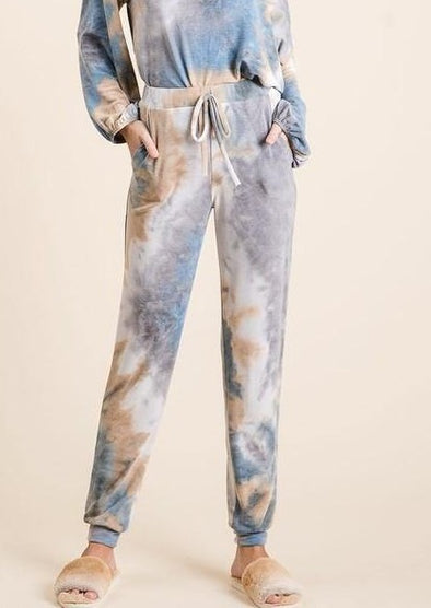 Tie Dye Lounge Joggers with Drawstring and Pockets -  BiBi - Bottoms, Clothes, Drawstring, Joggers, Lounge, Loungewear, made in usa, matching sets, Pants, Pockets, Spring, tie dye, Wardrobe Essentials, Women, Women's Clothing - Classy Cozy Cool