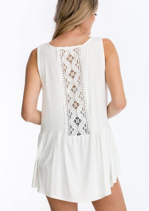 Ruffled Tank with Crochet Back Detail in Off White - Made in USA