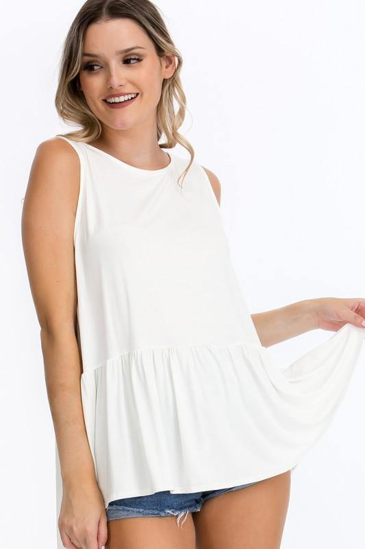 Ruffled Tank with Crochet Back Detail in Off White - Classy Cozy Cool - Tops -  CY - Best Dressed, made in usa, Plus, Spring, Summer, vacation, Wardrobe Essentials, Women's Clothing